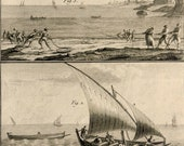 1793.Fishing with nets.Antique print.Engraving Diderot encyclopedy.Panckoucke edition.220 years old.Bernard direxit.11x7.8 ins.28x20cm.