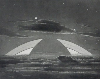 Astronomy..Antique print.1930/'s.A Sunrise in a Lunar Circus..Astronomy print12.1x9 ins or 31X23 cm.