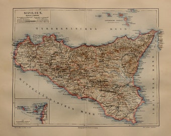 photograph regarding Printable Map of Sicily named Map of sicily Etsy