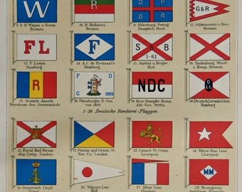 "1904.Flags of Shipping Companies.Ancient Flags print.Old History print.Old print.Maritime flags.6,2x9,2"" 16x25cm"
