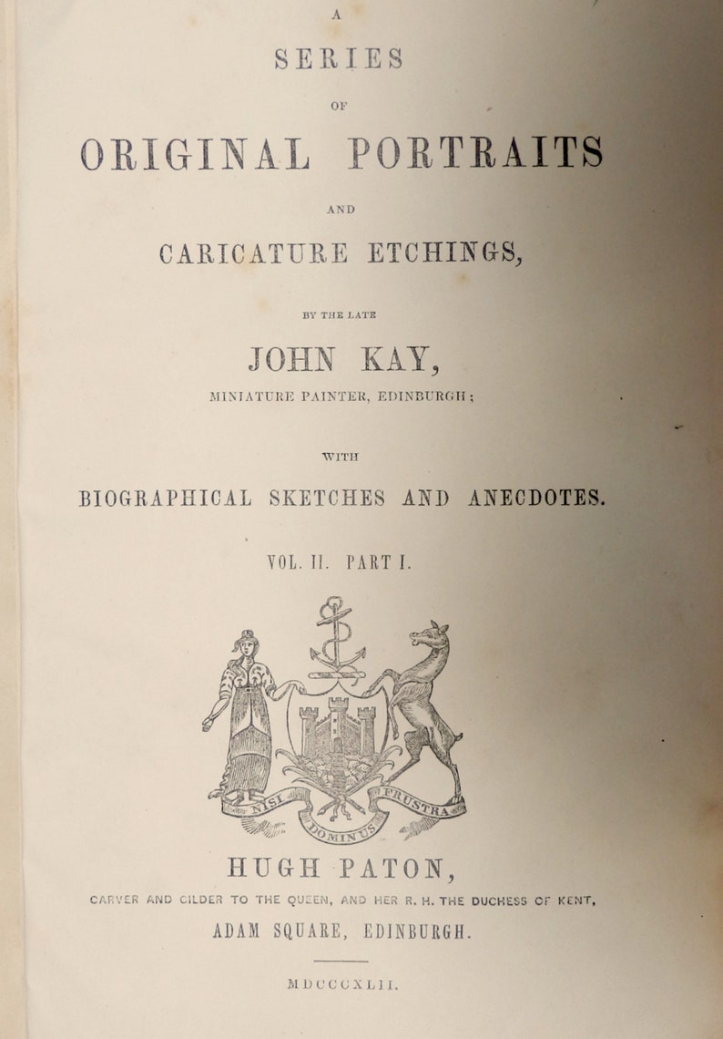 1842.Funny Original portraits.Caricature etchings by John Kay comic pioneer.Caricature portraits pictorial satirist.9x5.5 or 23x14 cm.