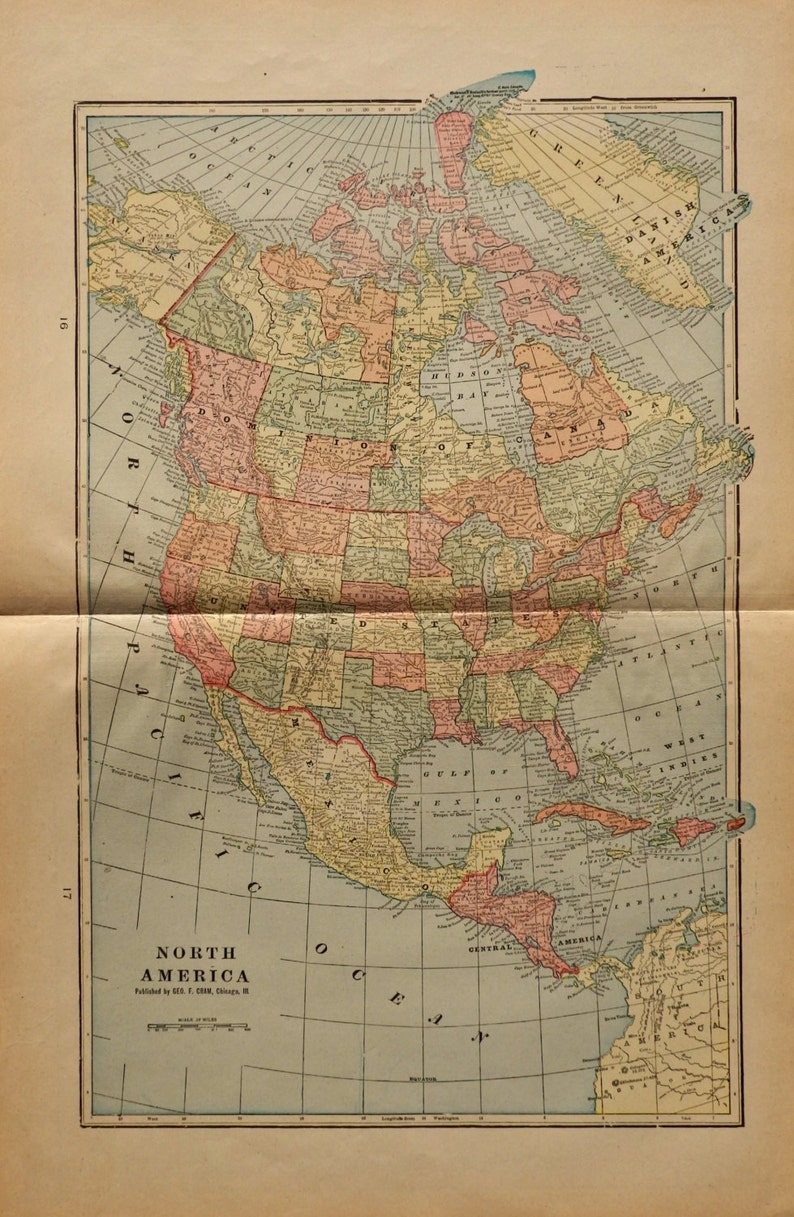 Map Of America 1900.1902 North America 21 8x14 4 Inches Map Of North America In Etsy