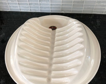 White Ceramic Masonware Chicken Roaster for Oven and Microwave