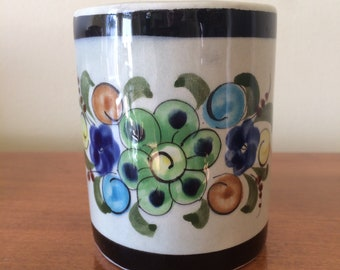 Vintage Mexican Art Pottery Cup Black Banded with Floral Motif