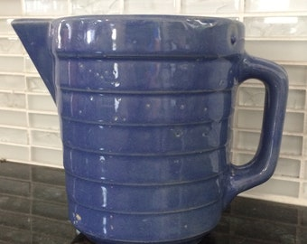 Western Pottery Earthenware Blue Cream Pitcher 1 Quart