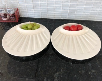 White Ceramic Masonware Steak and Baked Potato Plates for Oven and Microwave Set of 2