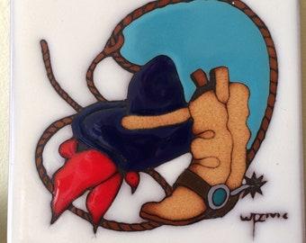 Hand Fired Earthenware Trivet Cowboy Motif w/Hat Scarf and Lasso Southwestern 6X6