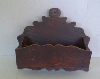 Late 19th C. Bath Caddy - Comb and Brush Caddy - Pine Wood Bath Caddy - Antique Comb and Brush Holder - Pine Wood Wall Pocket