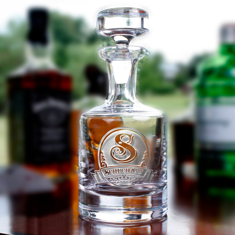 Scotch and Bourbon - Set of 2 Monogrammed Initial on Whiskey M22