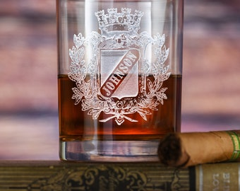 Engraved Personalized Whiskey, Scotch, Bourbon Glasses, Set of 4, (crest)