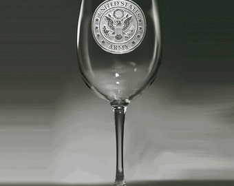 Army Wine Glass, Engraved Army Stemware Gifts, Set of 2