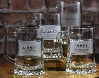 Personalized Groomsman, Best Man Beer Mugs, Groomsmen Gifts, Set of 7