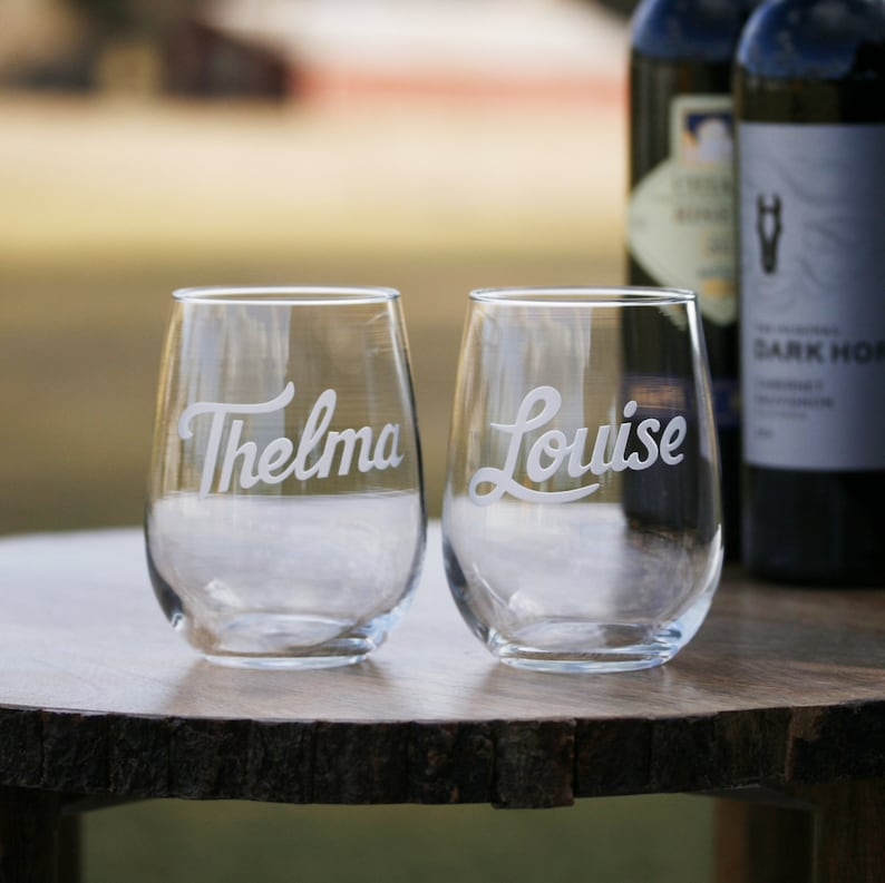 3d1b2c48f1a Thelma & Louise Engraved Stemless Wine Glass Set | Etsy