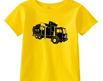 Kids' LEECH DEPT. - Cartoon Automated Garbage Truck - Yellow T-Shirt & more colors