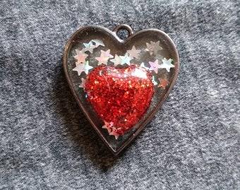 Red Glitter Resin Heart Suspended in the Night Sky, Love Pendant, Heart Pendant, Holographic Star Glitter, Love Never Ends,