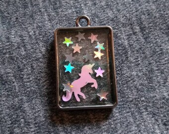 Unicorn in Magical Starry Sky, Resin Art, Resin Pendant, AB Unicorn with Holographic Stars, Unicorn Pendant, Magic Unicorn Pendant
