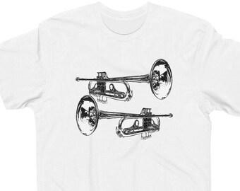 Music Musician Trumpet Player Moon Mens T-Shirt Space Trumpeteer