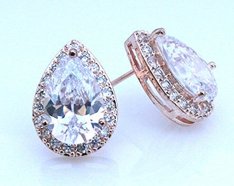Adrienne - Rose Gold Teardrop Earrings, Bridal CZ Stud Earrings, Crystal Earrings, Halo Stud Earrings, Cubic Zirconia, Bridesmaid Earrings