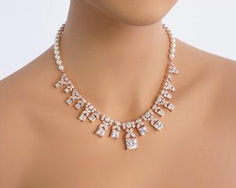 Olivia - Bridal Jewelry SET Necklace + Earrings, Wedding Backdrop Necklace, Swarovski Pearl Back Drop Necklace, Princess Cut Necklace