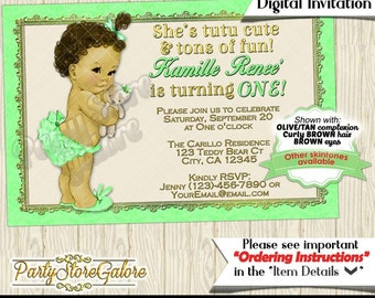 1st Birthday Invitations First One Mint Green Gold Frame Bloomers Tutu Curly Hair Teddy Bear Personalized DIGITAL INVITATION 207