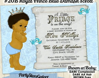 Boy Baby Shower Invitations Vintage Royal Prince African Etsy
