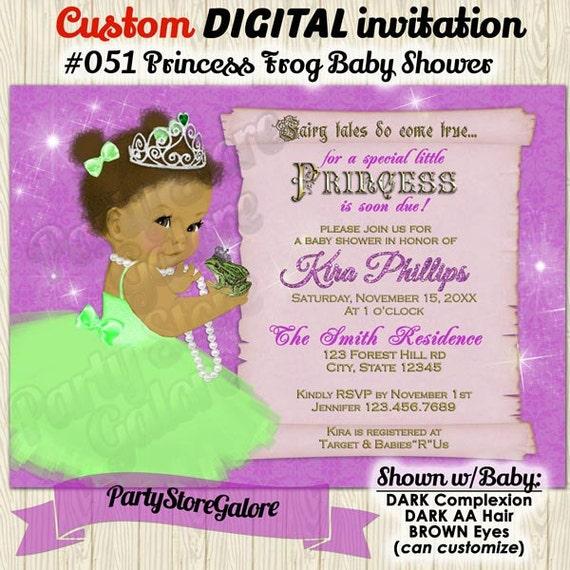 Girls Frog Princess Fairy Tale Baby Shower Invitations Light Purple And Green African American Printable Madetoorder Digital Invitation 051