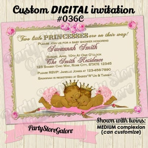 Prince and Princess Boy and Girl Twins African American Twin Baby Shower Invitations crown gold YELLOW DAMASK Custom Digital Invitation #042