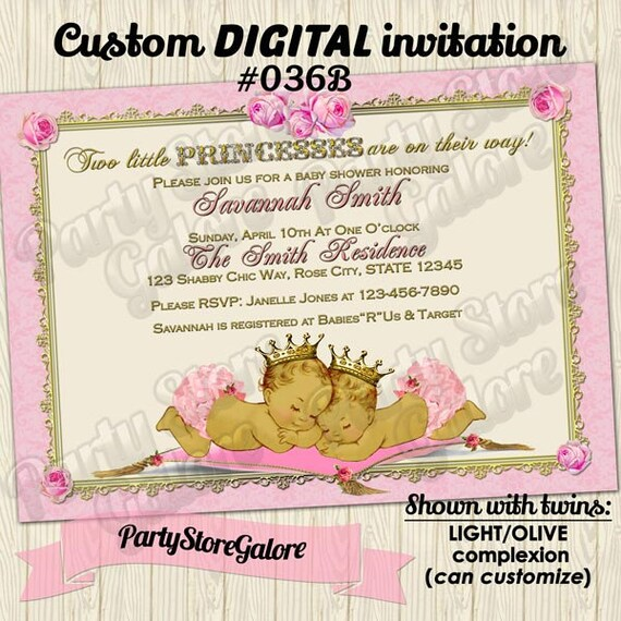 Twins Baby Shower Invitations Twin Girl Girls Vintage Princess Etsy