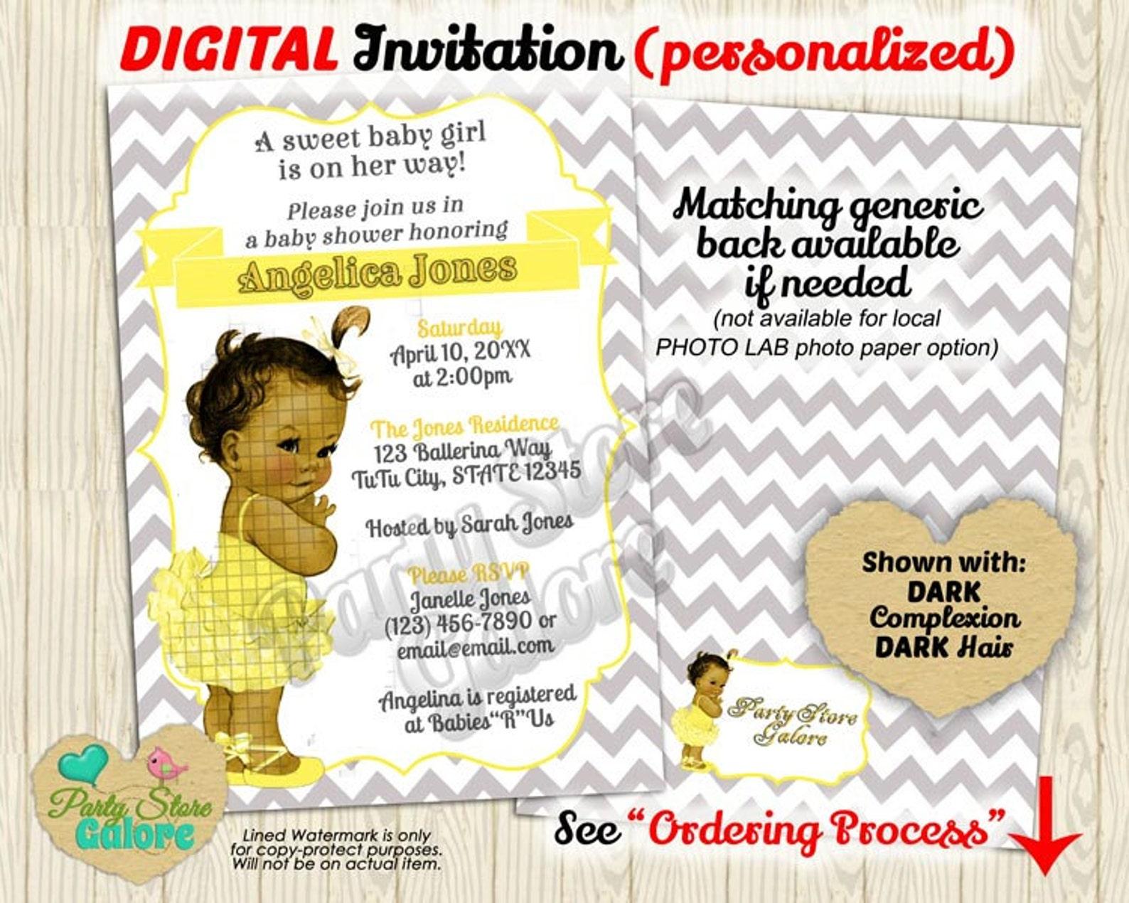 yellow and gray baby shower chevron invitation girls girl ballet ballerina tutu / personalized digital invitation printable desi