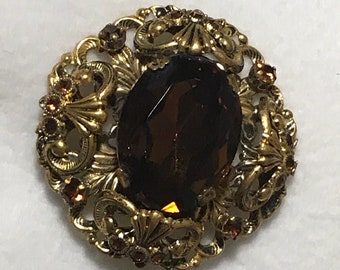 Exquisite Vintage Large Brown Center Stone & Rhinestone Brooch - West Germany