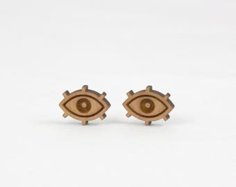 Eye wood earrings A62