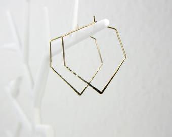 Geometric hammered gold plated hoops earrings C34
