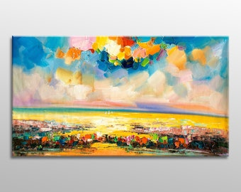 Abstract Oil Painting, Original Artwork, Oil Painting Landscape, Large Art, Canvas Painting, Wall Hanging, Modern Painting, Bedroom Decor