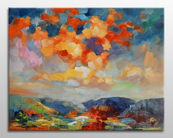 Large Oil Painting Landscape, Abstract Painting, Tuscany Sunset, Contemporary Painting, Original Landscape Painting, Abstract Art Wall Decor