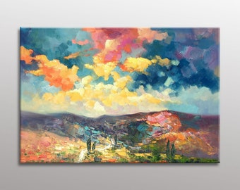 Oil Painting, Abstract Painting, Landscape Painting, Abstract Oil Painting, Large Wall Art Canvas, Abstract Landscape, Original Art Abstract