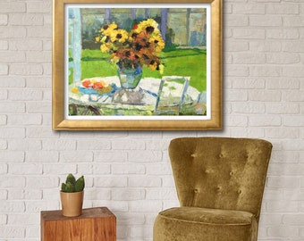 Flower Painting, Sunflowers Oil Painting, Original Art, Modern Art, Palette Knife Painting, Oil Painting, Abstract Flower Painting