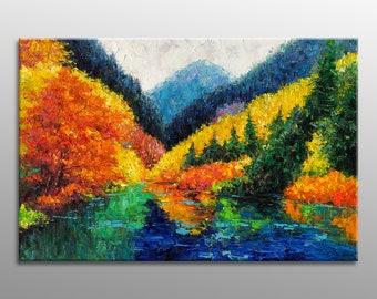Oil Painting Autumn, Landscape Painting, Large Art, Abstract Art, Wall Art, Canvas Art, Palette Knife Painting, Large Canvas Wall Art