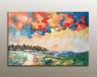 Oil Painting, Landscape Painting, Large Art, Canvas Art, Abstract Oil Painting, Original Art, Modern Art, Abstract Canvas Art,  Autumn Art