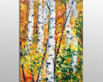 Large Landscape Oil Painting Autumn Birch Tree, Family Wall Decor, Large Landscape Painting, Canvas Art, Large Abstract Art, Original Art