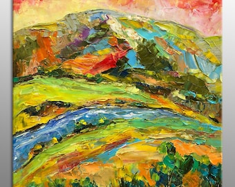 George Miller Abstract Painting  Colorful Dream Acrylic Canvas Art  Nice Expressionism Modern Fine Art  Landscape Stretched Ready to Hang