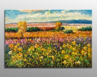 Oil Painting, Landscape Painting, Canvas Art, Landscape Oil Painting, Palette Knife Painting, Large Wall Art, Abstract Landscape Painting