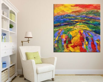 Large Art, Oil Painting Original, Abstract Landscape Painting, Abstract Canvas Painting, Contemporary Painting, Living Room Wall Decor