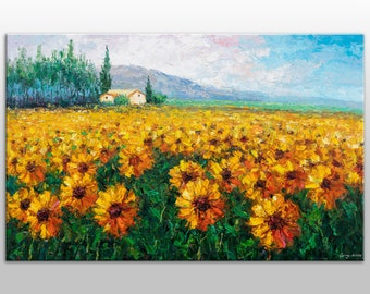 Oil Painting, Landscape Painting, Italian Tuscany Sunflower Fields, Large Canvas Art, Canvas Painting, Large Oil Painting, GeorgeMillerArt