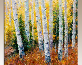 Oil Painting White Birch Trees, Palette Knife Painting, Landscape Oil Painting, Original Art, Bedroom Art, Contemporary Art, Canvas Wall Art