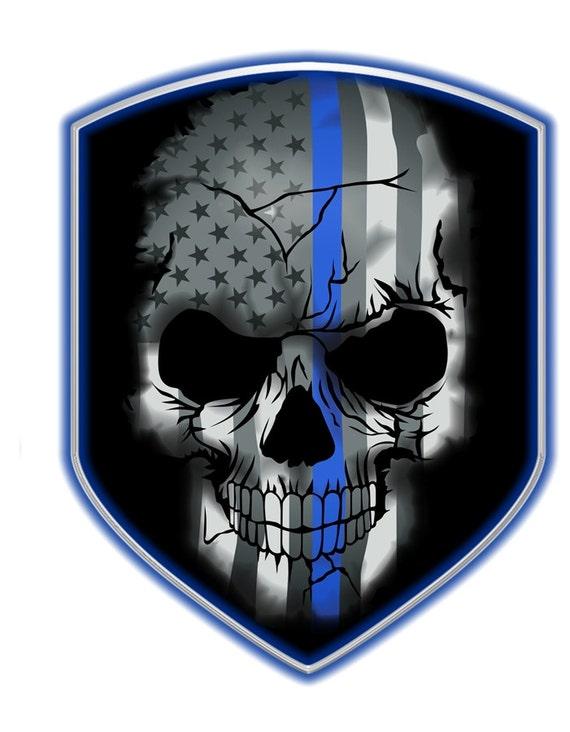 2 Thin Blue Line Skull Shield Decal Sku D694 0001