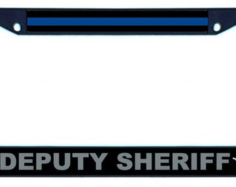Black License Plate Frame - Thin Blue Line Deputy Sheriff 5 Point Star SKU: LPFRM010-B