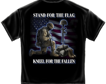 Military T-Shirt Stand For The Flag Kneel For The Fallen Black SKU: MM2323