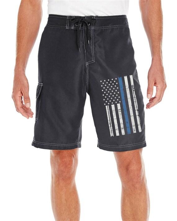 7c9c897c29 Thin Blue Line American Flag Black Board Shorts SKU: BOARDFLAG | Etsy