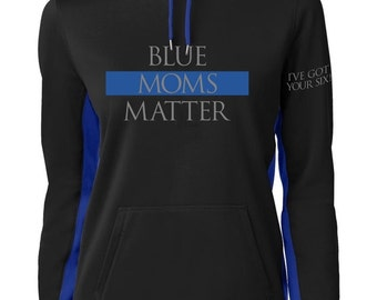 Thin Blue Line Distress Flag With Thin Blue Line Flag Sleeve Print Sport-Tek Sport-Wick Fleece Colorblock Hooded Pullover SKU: SW225 pk6zk
