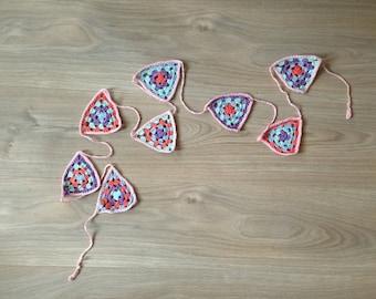 Crochet flags Garland/crochet bunting